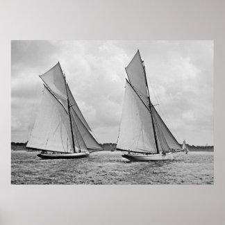 La taza 1886 de América del comienzo de Mayflower  Póster