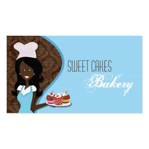 La taza afroamericana del panadero apelmaza la tarjetas de visita