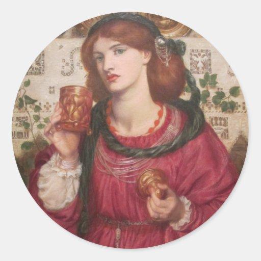 La taza cariñosa - Dante Gabriel Rossetti Pegatina Redonda