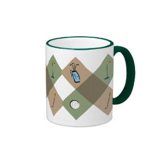 La taza de café del modelo del golfista