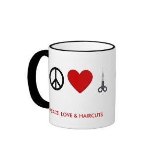 La taza de café del peluquero - paz, amor, cortes