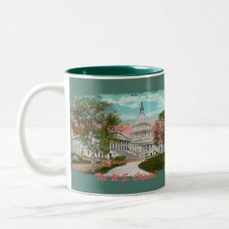 La taza de café del vintage del capitolio de los