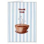 La taza de café le agradece tarjeta de nota