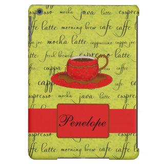 La taza de café redacta nombre con monograma rojo funda para iPad air