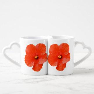 La taza de los amantes abigarrados del hibisco tazas para parejas