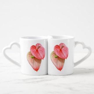 La taza de los amantes de la flor del Oilcloth Taza Para Parejas