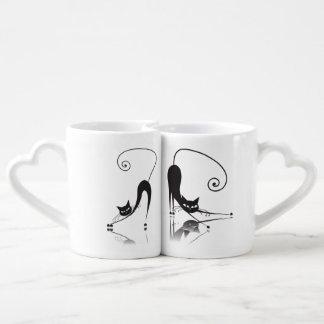 La taza de los amantes del gato negro fijada - 1 taza para parejas