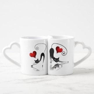 La taza de los amantes del gato negro fijada - 2 taza para enamorados