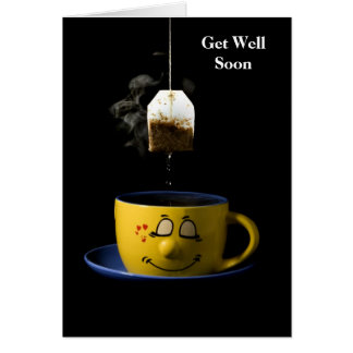 La taza de té consigue pronto la tarjeta bien