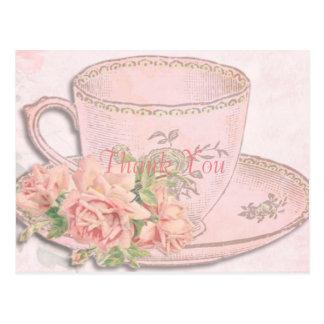 La taza de té del vintage le agradece postal