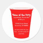la taza del fiesta invita etiqueta redonda
