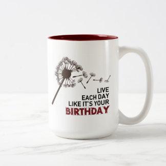 La taza del proyecto del cumpleaños