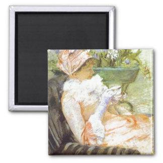 La taza del té, retrato de Lydia, Mary Cassatt Imán De Frigorifico
