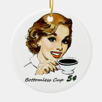 La taza insondable adorno navideño redondo de cerámica