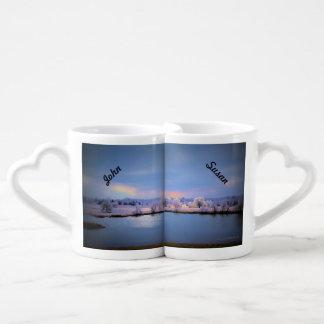 La taza, la charca helada y los sauces del amante set de tazas de café
