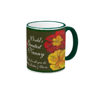 La taza más grande de la niñera del mundo floral d