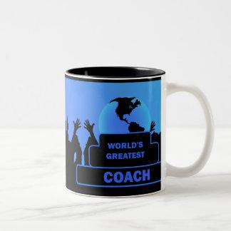 La taza más grande del azul del premio de las