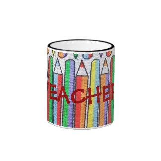 La taza personalizada del profesor coloreado de lo