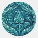 La teja del vintage diseña artes y hace el arte a etiquetas redondas