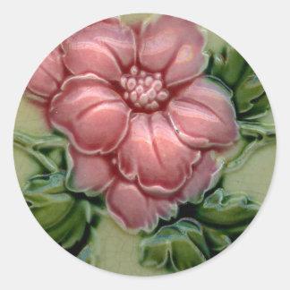 La teja del vintage diseña artes y hace el arte a pegatina redonda