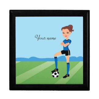 La teja ilustrada jugador de fútbol del chica caja de joyas
