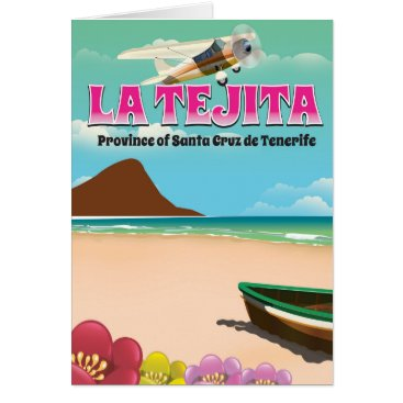 Beach Themed La Tejita Tenerife beach travel poster Card