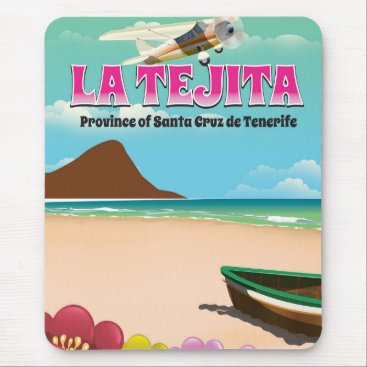 Beach Themed La Tejita Tenerife beach travel poster Mouse Pad