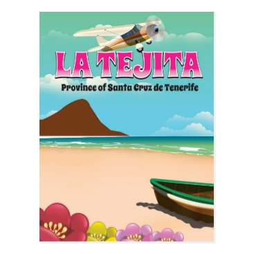 Beach Themed La Tejita Tenerife beach travel poster Postcard