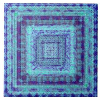 La tela azul lamentable tiene gusto del modelo de azulejo cuadrado grande