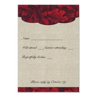 """La tela del rojo rico se va y el rsvp de lino con invitación 3.5"""" x 5"""""""