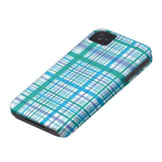La tela escocesa azul retra comprueba la casamata Case-Mate iPhone 4 fundas