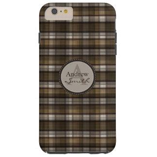 La tela escocesa clásica de Brown resuelve Funda Resistente iPhone 6 Plus
