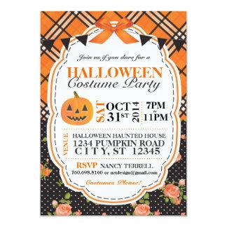 """La tela escocesa de Halloween y florales invitan Invitación 5"""" X 7"""""""