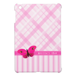 La tela escocesa rosada femenina raya cajas de