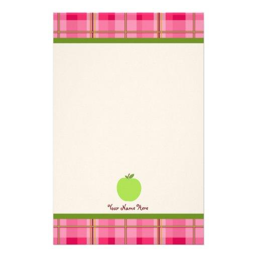La tela escocesa rosada y Apple verde Papelería Personalizada