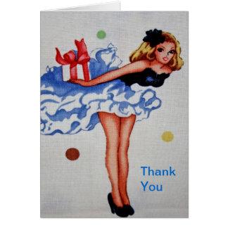 La tela femenina del vintage le agradece cardar felicitacion
