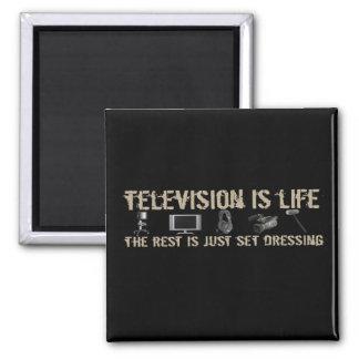 La televisión es vida imán cuadrado