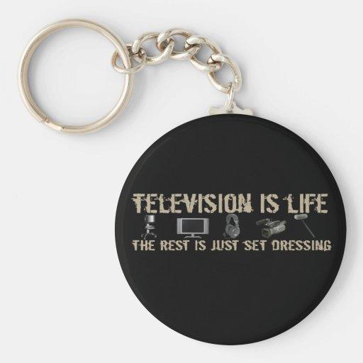 La televisión es vida llavero redondo tipo pin