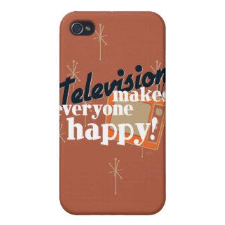 ¡La televisión hace cada uno feliz! Brown de cobre iPhone 4 Cárcasas