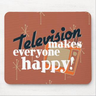 ¡La televisión hace cada uno feliz Brown de cobre Tapete De Raton