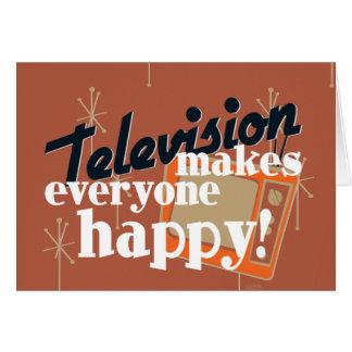 ¡La televisión hace cada uno feliz! Brown de cobre Tarjeta De Felicitación