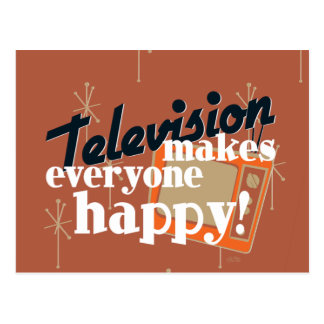 ¡La televisión hace cada uno feliz! Brown de cobre Tarjetas Postales