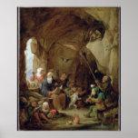 La tentación de St Anthony en una caverna rocosa Posters