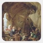 La tentación de St Anthony en una caverna rocosa Calcomania Cuadrada Personalizada