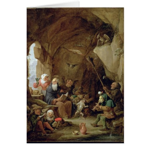La tentación de St Anthony en una caverna rocosa Tarjeta