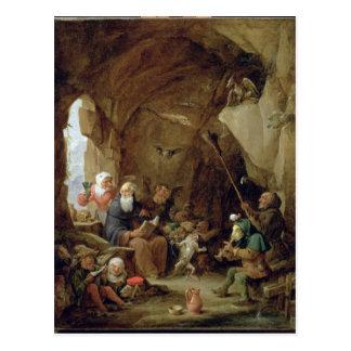 La tentación de St Anthony en una caverna rocosa Tarjetas Postales