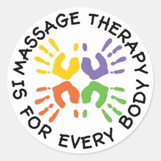 La terapia del masaje está para los pegatinas de etiquetas redondas