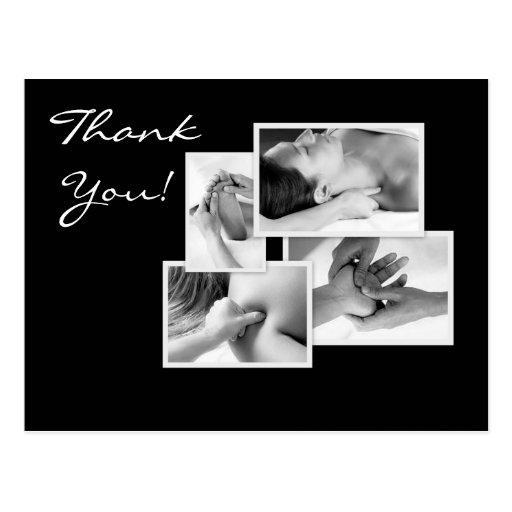 La terapia del masaje le agradece postal