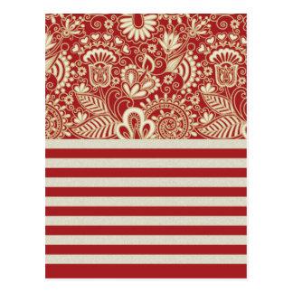 la terracota roja beige raya el estampado de postal