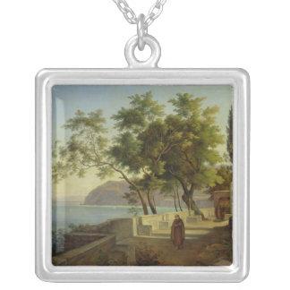 La terraza del Capucins en Sorrento, 1828 Colgante Cuadrado